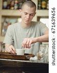 barista bartender stirring... | Shutterstock . vector #671639656