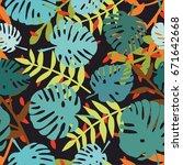 tile tropical vector pattern... | Shutterstock .eps vector #671642668