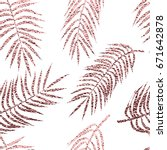 rose gold palm tropical leaves... | Shutterstock .eps vector #671642878