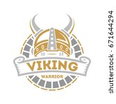 viking isolated label with... | Shutterstock .eps vector #671644294