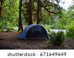 camping tent at staircase... | Shutterstock . vector #671649649