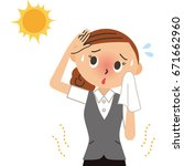 women workers in heatstroke | Shutterstock .eps vector #671662960