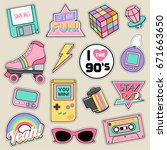 Stock vector set of fashion patches cute pastel badges fun icons vector in s retro concept 671663650