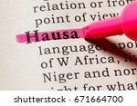 Small photo of Fake Dictionary, Dictionary definition of the word Hausa. including key descriptive words.