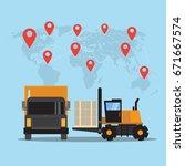 logistics and transportation of ... | Shutterstock .eps vector #671667574