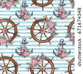 seamless watercolor nautical... | Shutterstock . vector #671674348