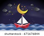 paper sailing boat floating on... | Shutterstock .eps vector #671676844