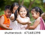 asian children having fun to...   Shutterstock . vector #671681398