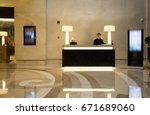 hotel lobby interior with... | Shutterstock . vector #671689060