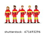 Sets Of Firefighting Team. Flat ...