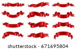 ribbon banner set.vector red... | Shutterstock .eps vector #671695804