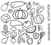 fruits  vegetables and berries... | Shutterstock .eps vector #671697478