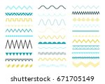 zigzag and wave borders set | Shutterstock .eps vector #671705149