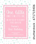 first birthday invitation girl  ... | Shutterstock .eps vector #671715406