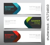 Stock vector collection blue green and red horizontal business banner set vector templates clean modern 671716810