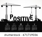 crane and positive building.... | Shutterstock .eps vector #671719036