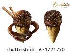 chocolate ice cream cones set... | Shutterstock .eps vector #671721790