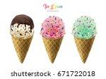 colorful ice cream cones...   Shutterstock .eps vector #671722018