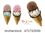 colorful ice cream cones... | Shutterstock .eps vector #671722030