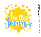 hello summer on color circle.... | Shutterstock .eps vector #671730748