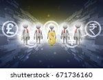 3d people around dollar sign | Shutterstock . vector #671736160