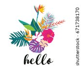 tropical summer flower with... | Shutterstock .eps vector #671738170
