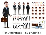 businessman character creation... | Shutterstock .eps vector #671738464