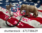 Small photo of The fight over the Affordable Care Act and the repeal and replace of Obamacare concept.In American politics US parties are represented by either the democrat donkey or republican elephant