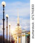 admiralty golden tower  saint... | Shutterstock . vector #671741833