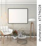 mock up poster frame in loft... | Shutterstock . vector #671746228