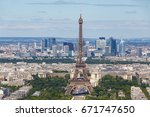 eiffel tower in paris against... | Shutterstock . vector #671747650