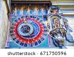 astronomical clock on the... | Shutterstock . vector #671750596