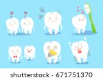 cute cartoon tooth on the blue... | Shutterstock .eps vector #671751370