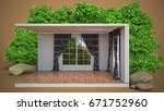 interior with large window. 3d... | Shutterstock . vector #671752960