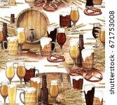 watercolor barrel of beer... | Shutterstock . vector #671753008