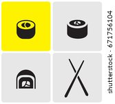 sushi icons | Shutterstock .eps vector #671756104