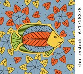 hand drawing   fish. bright... | Shutterstock .eps vector #671758378