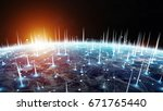 global network and datas... | Shutterstock . vector #671765440