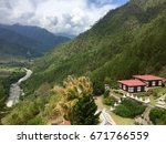 mountain top view of monastery  ... | Shutterstock . vector #671766559