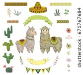 lama animal  cacti  sombrero ... | Shutterstock .eps vector #671767684