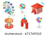 isometric flat 3d isolated... | Shutterstock .eps vector #671769310