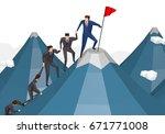 business people team climbing... | Shutterstock . vector #671771008