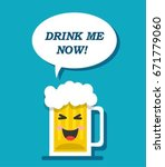 beer mug says drink me now in a ... | Shutterstock .eps vector #671779060