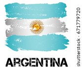 flag of argentina from brush... | Shutterstock .eps vector #671779720