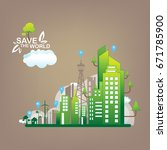 save the world vector ecology... | Shutterstock .eps vector #671785900