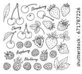 set of vector fruits and... | Shutterstock .eps vector #671787226
