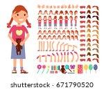 cartoon cute little girl... | Shutterstock .eps vector #671790520
