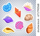 sea shells stickers vector set. ...   Shutterstock .eps vector #671790568