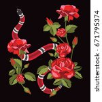 snake and roses.embroidery and... | Shutterstock .eps vector #671795374