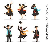 graduation of happy students at ... | Shutterstock .eps vector #671797678